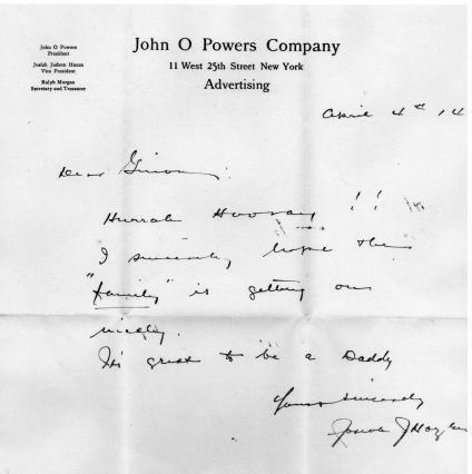 Congratulations on the birth of a son - 1914 Josiah J. Hazem