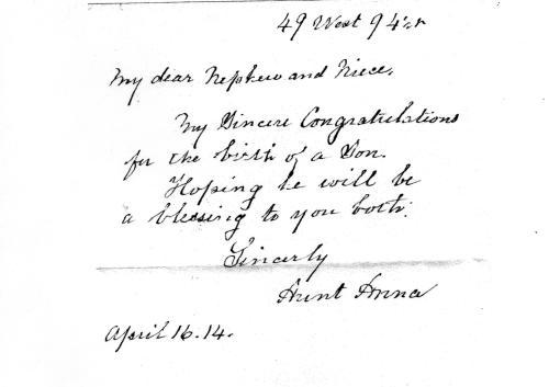 Congratulations on the birth of a son - 1914 Aunt Anna