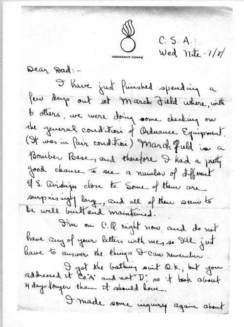 Lad's letter from Camp Santa Anita, July, 1943