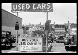 Used car lot - 1940's