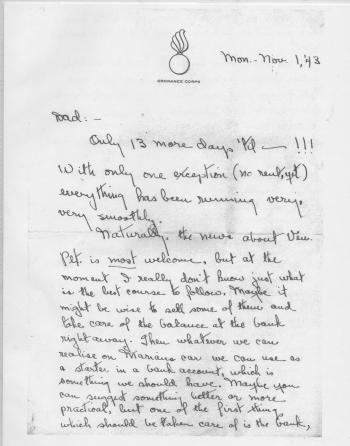 Blog - (letter) Rings and Dan Cupid - Nov, 1943