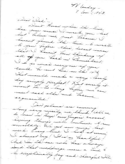 Marian writes to Grandpa - Nov. 1, 1943