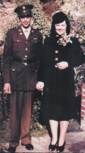 Lad and Marian Guion's wedding, Nov. 14, 1943 (both standing)
