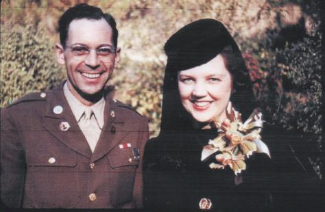 Lad and Marian Guion's wedding - Nov. 14, 1943 - close-up with hat and coursage