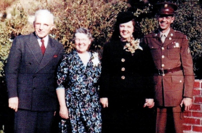 Lad and Marian Guion's wedding, with her parents - Nov. 14, 1943