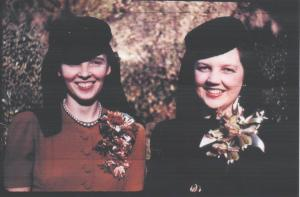 Peg Irwin, Maid-of-Honor and Marian Guion, Nov. 14, 1943 - with hats and coursages