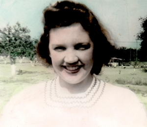 Marion at Pomona - smiling - in color- 1943