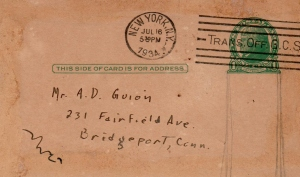 CDG - July 16, 1934 - Postcard from Ced to his Father from Aunt Betty's Grand Central Shop 16, 1934