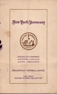New York University Graduation Program - June 10, 1914