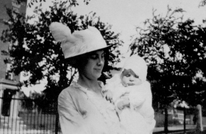 Arla Mary Peabody holding Alfred Peabody Guion (my father)