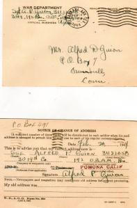Blog - Lad's new address in Pomona, CA - Feb., 1944