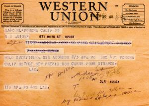 Blog - Lad's telegram with new address and new insignia with four stripes - Feb., 1944