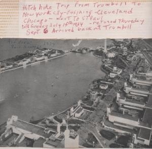 CDG - 1934 Chicago Fair -aerial overview and note about trip