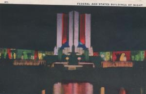 CDG - 1934 Chicago Fair Postcard - Federal and State Building at Night