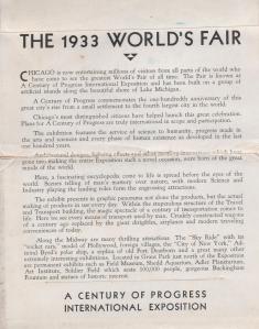 CDG - 1934 Chicago Fair Postcard - The 1933 World's Fair