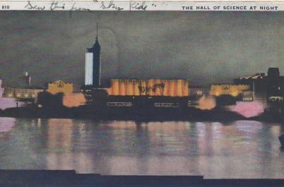 CDG - 1934 Chicago Fair Postcard - The Hall of Science at Night