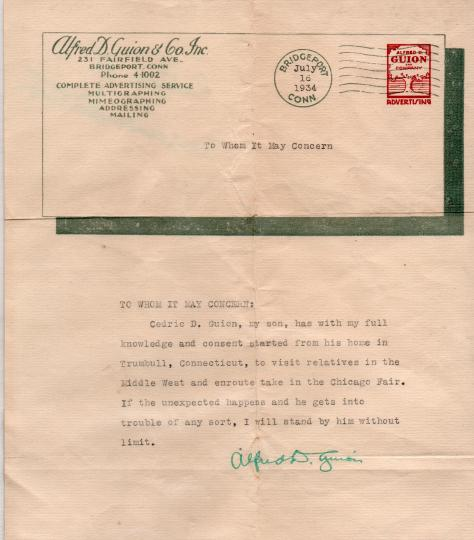 CDG - Letter of Consent from Grandpa - 1934