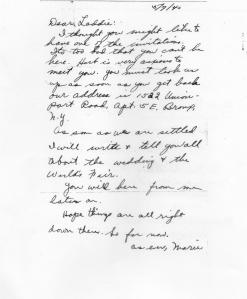 Lad - letter from Marie Page re wedding announcement - May, 1940