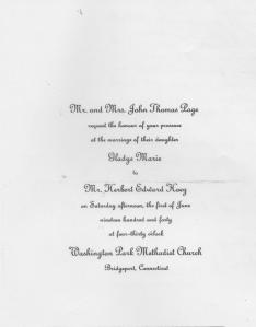 Lad - wedding invitation to Marie Page's wedding - May, 1940