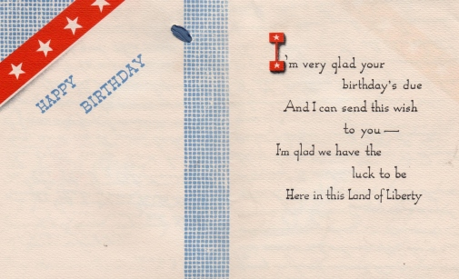 Aunt Betty's birthday card to Lad - 1941