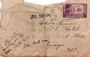 CDG - Aunt Nora Peabody's (Mrs. Kemmeth) envelope - July 30, 1934
