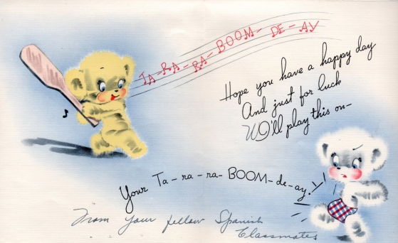 Lad - birthday card from Spanish classmates - (inside) - 1941