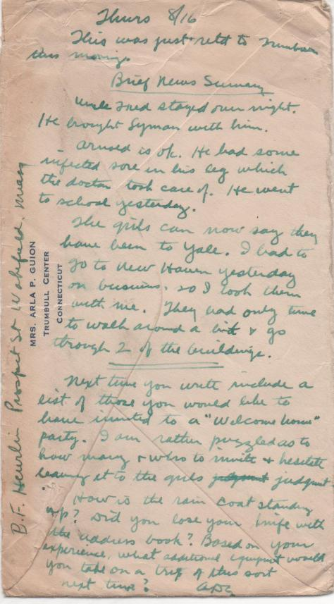 CDG - Lost letter (Note) - July 30, 1934