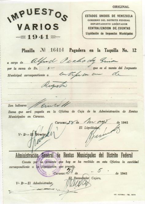 Lad - IMPUESTOS VARIOS - 1941