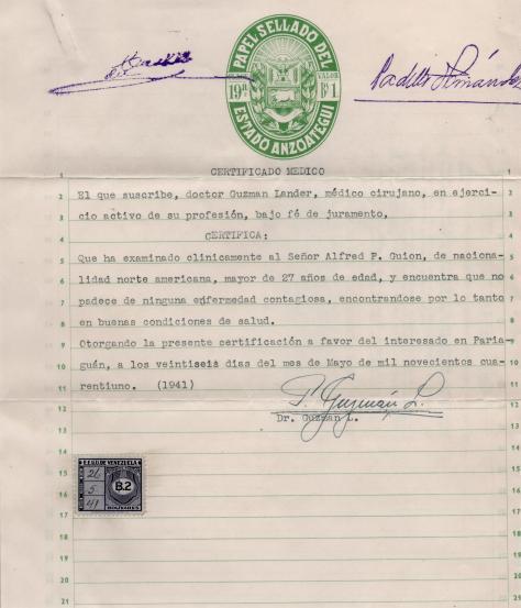Lad - Medical form 1 - to leave Venezuela - 1041