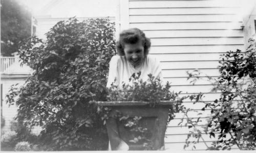APG - Marian on side porch in June, 1945.