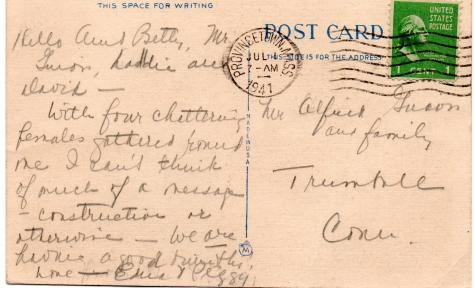 APG - Post card mesage from Edna and Peggy Beebe - July, 1941