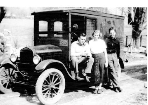 Art Mantle, Biss and Lad Guion, with Model T - 1932