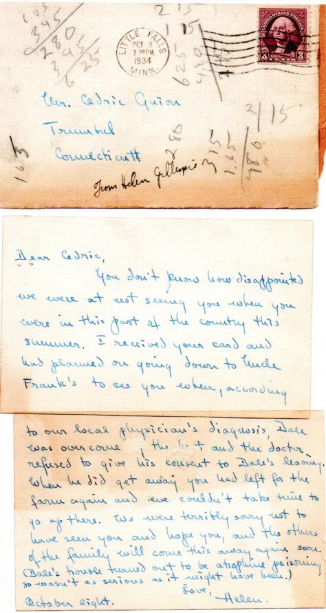 PEABODY - Helen Gillespie s note to Ced - 1934
