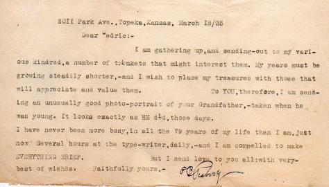 Peabody - Putnam Burton Peabodys note to Ced re photo - 1935