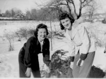 MIG - Marian and Jean bringing in Christmas Tree - 1944