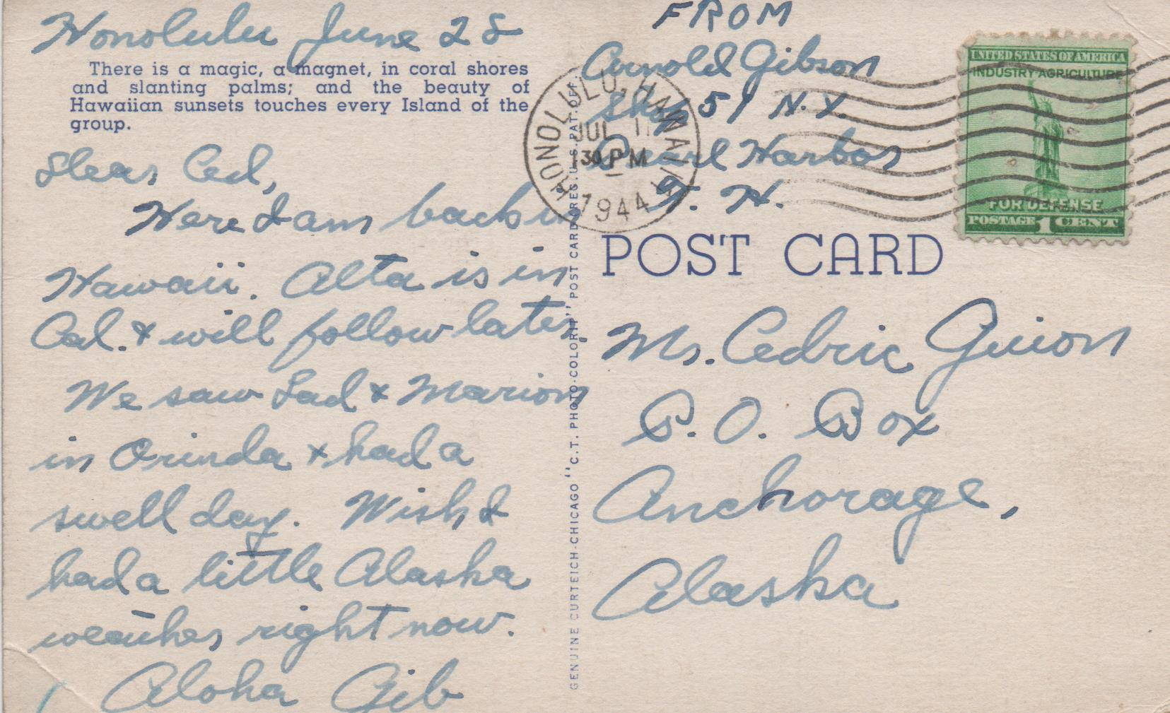 Gibby - Post card to Ced from Hawaii - message - 1944