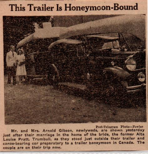 Arnold Gibson, Nomad and trailer, before honeymoon, Sept.1, 1940