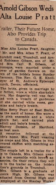 Arnold Gibson wedding write-up, Sept. 1, 1940
