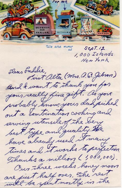 Arnold note to Lad while on Honeymoon (front) - Sept., 1940