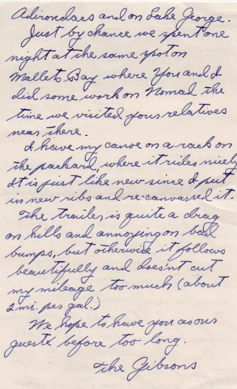 Arnold's note to Lad while on Honeymoon (back) - Sept., 1940