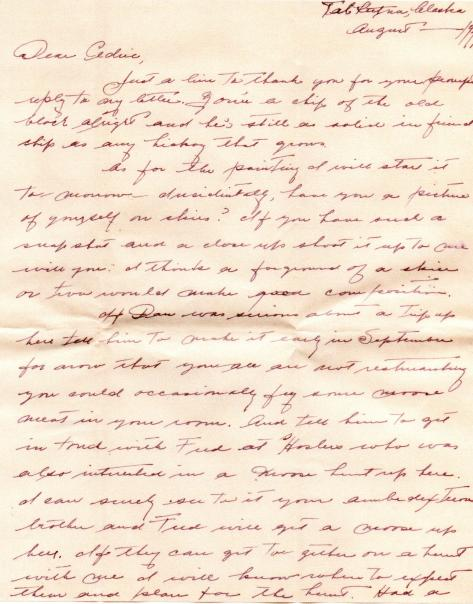 CDG - Rusty's letter about Dan and Moose Hunt - Aug., 1941