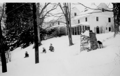 Trumbull House - Dave, Jean and Dick in deep snow, Feb., 1940
