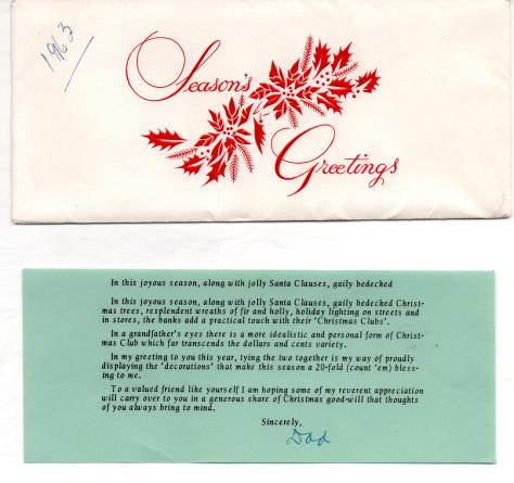 ADG - 1963 Christmas Card - Envelope and message