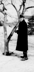 ADG - Grandpa about 1945 or 1946 near a tree in winter