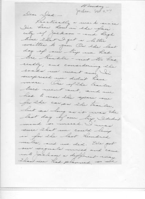 MIG - letter to Grandpa after arrival at Jackson, Miss., Sept, 1944