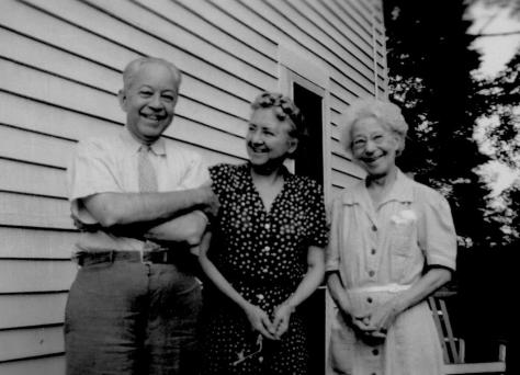 ADG - Grandpa (Alfred Duryee Guion), Aunt Elsie (Elsie May Guion), Aunt Betty (Lizzie Duryee) - Oct. 1945 in Trumbull