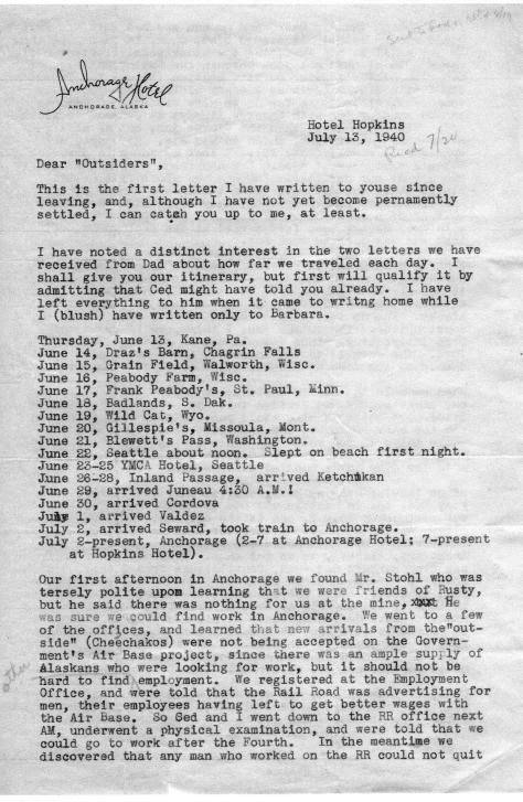 DBG - 1st letter from Anchorage, July, 1940