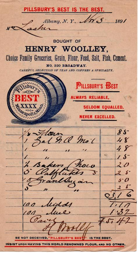 GREGORY - Grocery Receipt - Nov. 3, 1891