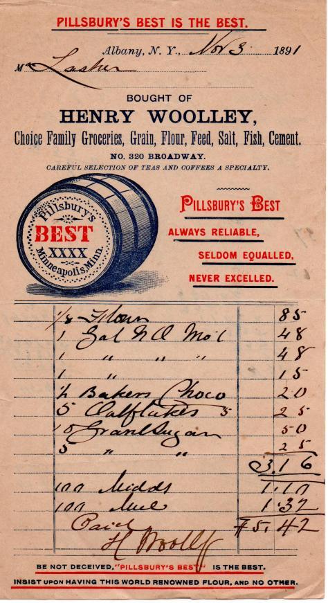GREGORY - Grocery Receipt - Nov. 3, 1891