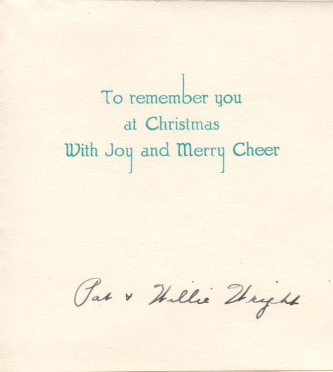 APG - Christmas cards - Pat and Willie Wright - message - 1941